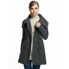Top-Quality Women's Classic Slim Double-Breasted Wool Blend Medium-Length Casual Coat 5 Colors S-XL