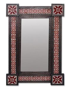 large wall mirror tin and ceramic colonial style from mexico