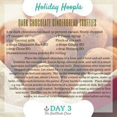 Young Living Essential Oils: Dark Chocolate Gingerbread Truffles Recipe