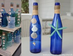 Decorating bottles with shells | Shell Craft: Decorate Bottles with Shells for a Beach Themed Decor