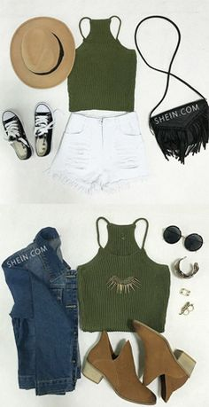 Super soft knit tank top for hot summer. Pretty army green vest makes a peace & cool summer. Best for summer street style. Find this Spaghetti Strap Knit Cami Top at Shein.com. Only $10.82