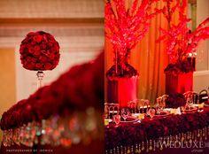red + gold wedding decor
