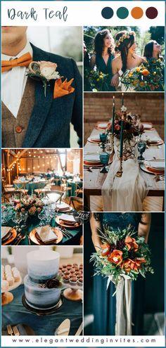 - Herbst Dekoration Tischdekoration #herbsthochzeit boho Dark Teal Weddings, Burnt Orange Weddings, Peach Weddings, Orange Wedding Colors, Winter Wedding Colors, Winter Weddings, Burgundy Wedding, Teal Fall Wedding, Wedding Ideas For Fall