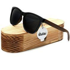 f8da161d37c Ablibi Bamboo Wooden Wayfarer Sunglasses Polarized Driving Eyewear in Wood  Box (Ebony