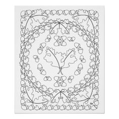 Oak Leaves Poster adult coloring art master is ready to color in or frame.