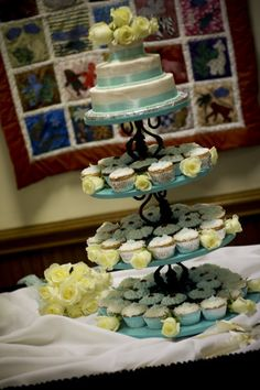 DIY Cupcake tower with mini wedding cake atop~