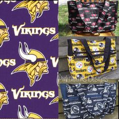 Custom made to order NFL Vikings ultimate diaper bag with magnetic snap on Etsy, $60.00