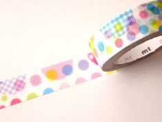 Washi tape, Random dots, Japanese stationery, Planner tape, Rainbow washi tape, Kids birthday party, Gift wrapping, Cute decor tape