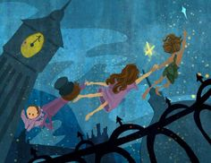 Flying Lessons Peter Pan Homage Art Print by theGorgonist on Etsy, $12.00