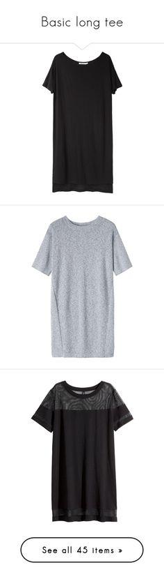 """Basic long tee"" by mam-ka ❤ liked on Polyvore featuring dresses, Tee, longtee, tops, vestidos, black, boat neck dress, jersey dresses, t-shirt dresses and short sleeve tee shirt dress"