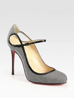 Christian Louboutin Roudounia Houndstooth Mary Jane Pumps