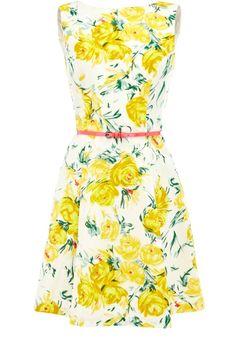 Cute vintage yellow rose dress