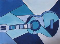 """Picasso's blue guitar. """"I start the lesson by talking about Picasso and his use of musical instruments as the subject for many of his paintings. I also talk about his """"blue period"""", and Cubism. Next I show them an actual guitar and talk about all the types of lines and how they can go about drawing it. I give them a choice of three different blues.Then they add a little bit of white and fill in all the shapes they want with that color.When they are finished they go over the lines with…"""