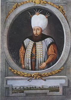Turkish Ottoman Sultan Ahmed III Portrait Painting with Turban Turkey - Stock Image