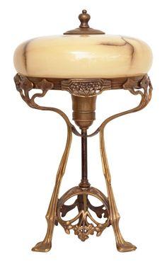 Wunderschöne Jugendstil Tischlampe Messing Tischleuchte  PETITE LUMIÈRE