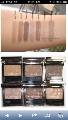 Burberry eyeshadows: pale barley, almond, midnight brown, and taupe brown.
