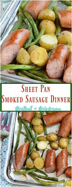 Sheet Pan Smoked Sausage Dinner - Easy One pan kielbasa with roasted potatoes and green beans cooks in 25 minutes with easy clean-up too! from Meatloaf and Melodrama pan dinner beef Sheet Pan Smoked Sausage Dinner - Meatloaf and Melodrama Smoked Sausage Recipes, Pork Recipes, Cooking Recipes, Healthy Recipes, Keilbasa Sausage Recipes, Recipies, Easy Recipes, Sausage Meals, Smoked Sausages