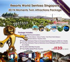 Resorts World Sentosa Singapore 2D1N Moments Twin Attractions Package - Hotel + Universal Studios Singapore + Adventure Cove Waterpark OR S.E.A Aquarium + Meal and Photo Voucher - $1139up/person, Details: http://www.asiatravelcare.com/mktg/20140301_Resorts_World_Sentosa-eng.htm