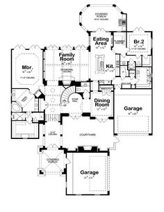 House Plan 97976 - French Country Style House Plan with 4005 Sq Ft, 4 Bed, 5 Bath, 4 Car Garage French Country House Plans, Country Style Homes, French Country Style, French Country Decorating, French Style Homes, Large House Plans, European House, European Style, Kids Study