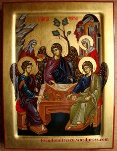 Holy Trinity & The hospitality of Abraham Religious Icons, Religious Images, Religious Art, Saint Esprit, Russian Icons, Byzantine Icons, Catholic Art, Art Icon, Sgraffito