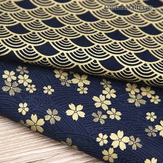 Kimono Cotton Fabric Dark Blue Cotton With Gilding by fabricmade