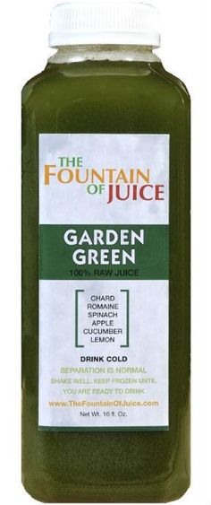 The Fountain of Juice 100% Raw Juice Cold-Pressed No-HPP Garden Green (8 Pack)