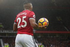 Antonio Valencia of Manchester United in action during the Premier League match between Manchester United and Tottenham Hotspur at Old Trafford on...