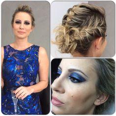 Madrinha com atitude penteado preso e Make azul dando um toque especial