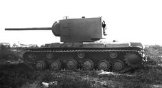 Test 107-mm tank gun ZIS-6 mounted in the turret of the heavy tank KV-2. The summer of 1941.