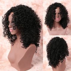 Medium Fashionable Side Bang Black Afro Curly Women's Synthetic Hair Wig #men, #hats, #watches, #belts, #fashion