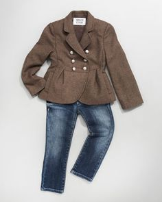 Double-Breasted Metallic Jacket & Faded Five-Pocket Jeans by Armani Junior at Neiman Marcus.