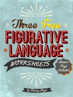 By the time students get to middle school they usually know the names of figurative language techniques. However, they still need to practice identifying and explaining them in use. These FREE worksheets will help facilitate that process. Teaching Language Arts, English Language Arts, Speech Language Pathology, Language Activities, Speech And Language, Teaching English, Speech Activities, Second Language, Writing Activities