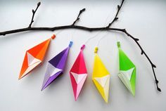 Origami homemade Christmas ornaments by Mini-Eco - This could be great to make a classroom super colorful for Christmas! Diy Origami, Hanging Origami, Origami Simple, Cute Origami, Origami Tree, Origami Paper, Diy Christmas Paper Decorations, Christmas Crafts To Make, Christmas Activities For Kids