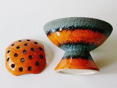 Ceramic+flower+frog+fat+lava+vase+Germany+WGP