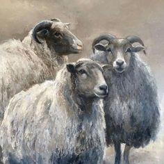 Bilderesultat for kunst annabelle lanfermeijer Sheep Paintings, Animal Paintings, Watercolor Animals, Watercolor Art, Farm Animals, Animals And Pets, Sheep Art, Sheep And Lamb, Tier Fotos