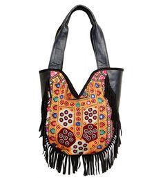 aa4cbb2d85 96  Indian Cotton Handmade Gypsy Banjara Suede Leather Shoulder Bag
