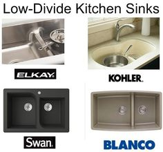Low Divide Kitchen Sinks: Low Divider Kitchen Sinks Are Two Sinks in One  a very knowledgeable-sounding gentleman who says there have been more cracking issues with the softer quartech and the e-granite is newer; harder. He says e-granite is Elkay's equivalent of Blanco's silgranite.