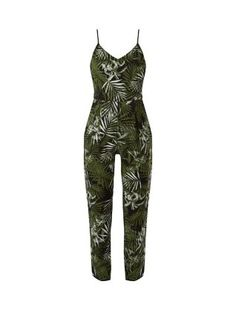 Black Palm Leaf Print Strappy Jumpsuit  | New Look