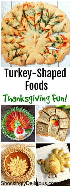 Delicious turkey-shaped foods to amuse and delight for Thanksgiving time (maybe we'll call it holiday humor you can eat!). We have recipes for everything from appetizers to dessert, including the day-after sandwich. We have you covered for turkey fun on turkey day! #shockinglydelicious #turkeyshaped #funthanksgiving #thanksgivingrecipes