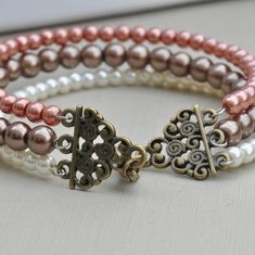 Frosty Sunrise Glass Pearl Memory Wire Three Strand Bracelet £11.50 ~ I need to find this, I'm in love!!