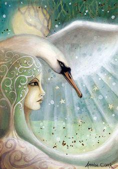 """Swan Sister 2"" fairytale art print - ©Amanda Clark (earthangelsarts) via Etsy"