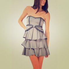 Gray Ruffle Dress w/ Black Trim Gray tube top dress with black trim. Dresses