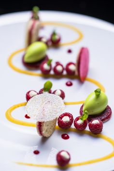 The orange calisson - Trocadéro biscuit, Fresh raspberries, basil sorbet. Le Burgundy Hotel, Paris