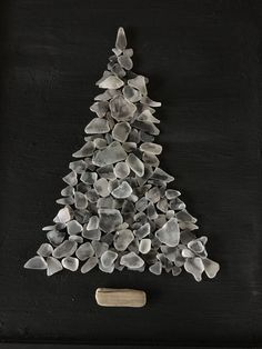 ORIGINAL White Beach Sea Glass Tree, Framed