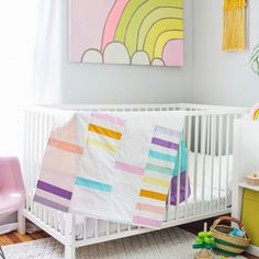 Such a special project! Learn how to make this pastel rainbow quilt for a nursery or kids room.