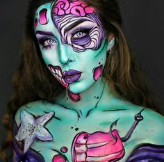 Want Halloween make-up that wow will? Then you need to try our 25 awesome Halloween make-up looks. Amazing Halloween Makeup, Halloween Makeup Looks, Halloween Make Up, Halloween 2017, Pop Art Makeup, Face Paint Makeup, Makeup Ideas, Pop Art Zombie, Monster Makeup