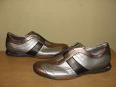 COLE HAAN Womens Shoes Bronze Bronze Gray Leather NIKE AIR Flats Sneakers 10.5B…