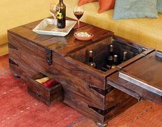 old trunks in decorating | Modern coffee table with storage, vintage furniture design inspired by ...