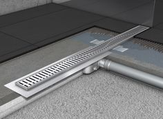 Water drainage for wet floor showers using ACO shower drains/ Scurgerea apelor la dusurile la nivelul pardoselii utilizand rigole de dus ACO >> ACO stainless steel shower drains with horizontal flange/ Rigole de dus din inox ACO Shower Drain cu flansa orizontala Ada Bathroom, Basement Bathroom, Basement House, Basement Flooring, Restroom Design, Bathroom Interior Design, Diy Concrete Driveway, Behindertengerechtes Bad, In Wall Sliding Door