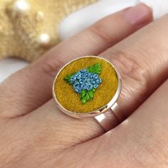 Pretty hand embroidered ring